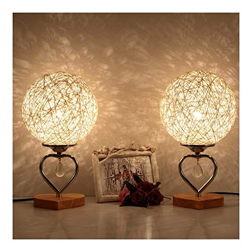 DALIBAI Lámpara redonda de mesita de noche, juego de dos interruptores remotos, lámpara de mesa con pantalla de tela, lámpara de mesa para dormitorio, sala de estar (color blanco)