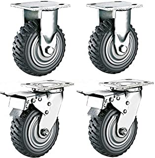 4 Lenkollen lenkbar /Ø 100mm je 2 Lenkrollen mit Feststell-Bremsen sowie 2 Lenk-Rollen ohne Feststeller als Transportrollen Lager Kugellager Reifen aus Elastik Blue-Wheel Industrierolle