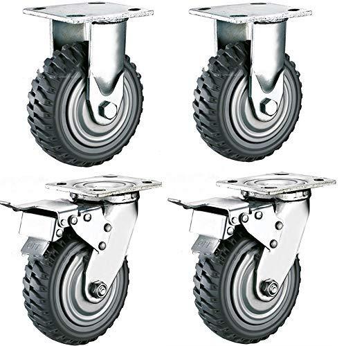 4 Stück Plattenrollen 200mm Schwerlastrollen mit abschließbarer Oberplatte Lenkrollen 360 Grad rundum drehbar - Industrierollen Vollgummi,Tragkraft 900 kg (2 Feste Rolle, 2 Bremsrollen)