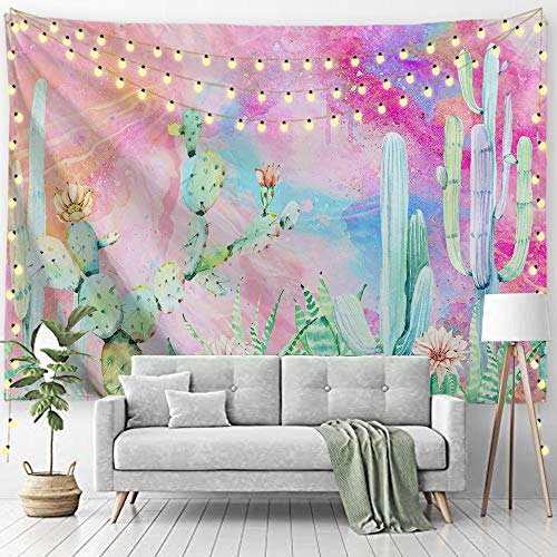 PROCIDA Cactus Tapestry Green Watercolor Nature Pink Beach Blanket Table Clothe for Bedroom Living Room College with Nails 90'W x 71'L, Watercolor Cactus