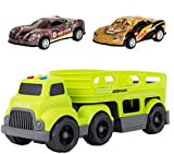 Truck Trailer Car Carrier Kids Toy Heavy Duty Auto Transporter Green with Two Removable Cars (Green Trailer with 2 Beautiful Cars)