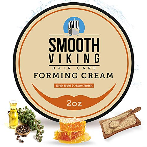 Hair Cream For Men | Smooth Viking Forming Cream for Hair (2 Ounces) - Hair Styling Cream for Matte Finish & High Hold - Water Soluble Hair Shaping...