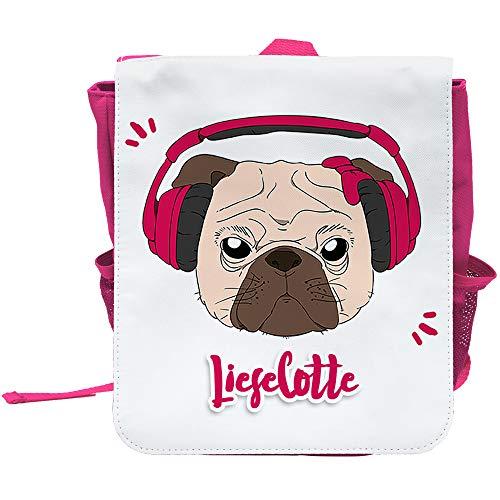 Kinder-Rucksack mit Namen Lieselotte und schönem Motiv - Mops mit Kopfhörer und Schleife - in Pink für Mädchen | Rucksack | Backpack