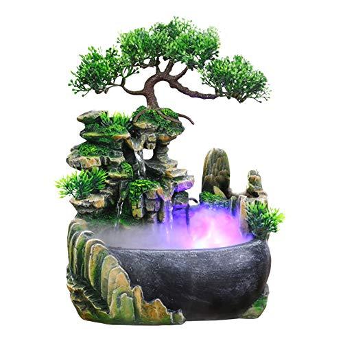Estink Brunnen Luftbefeuchter, Zen-Brunnen aus Polyresin, Tischbrunnen mit LED-Beleuchtung, Desktop-Wasserfall-Luftbefeuchter, für die Schreibtischdekoration(220v)