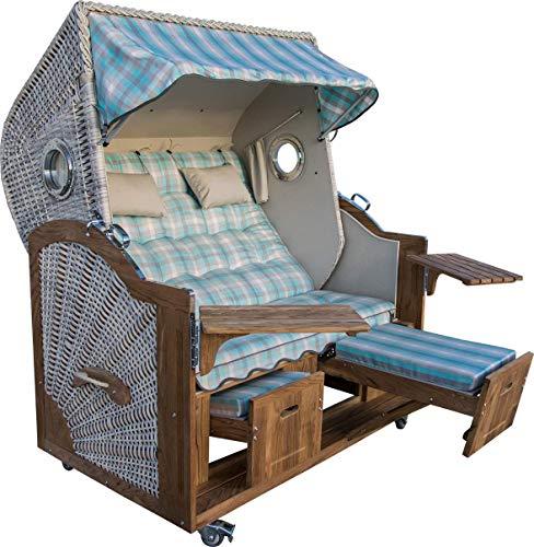 Strandkorb mit Bullaugen der Extraklasse produziert in Deutchland Modell Blue Wonder Breite 150 cm Irokoholz