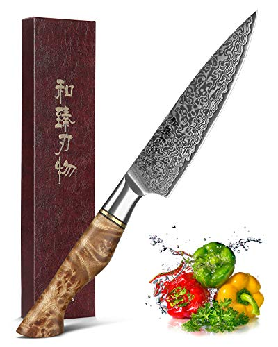 HEZHEN 5 inch Utility Knife with Razor Sharp- Damascus Steel with Rose Pattern Multifunctional VG10 Professional Paring-Fruit knife- Master Series Ergonomic Figured Sycamore Wood Handle