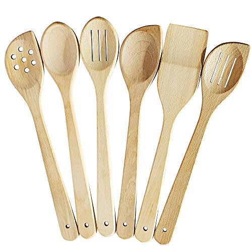 Healthy Cooking Utensils Set - 6 Wooden Spoons For Cooking – Natural Nonstick Hard Wood Spatula and Spoons – Uncoated and Unglued – Durable Eco-friendly and Safe Kitchen Cooking Tools.