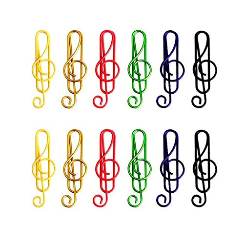 100 Pieces Music Paper Clips 6 Colors, Music Bookmark Metal Paper Clips Musical Notes Clips,for Office School Stationery Supplies