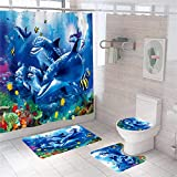 MrLYouth Blue Ocean Underwater Dolphins Shower Curtain Sets with Non-Slip Rugs,Toilet Pad Cover,Bath Mat,Accessories with 12 Hooks Waterproof Polyester Tropical Fish Marine Wildlife Bathroom Sets