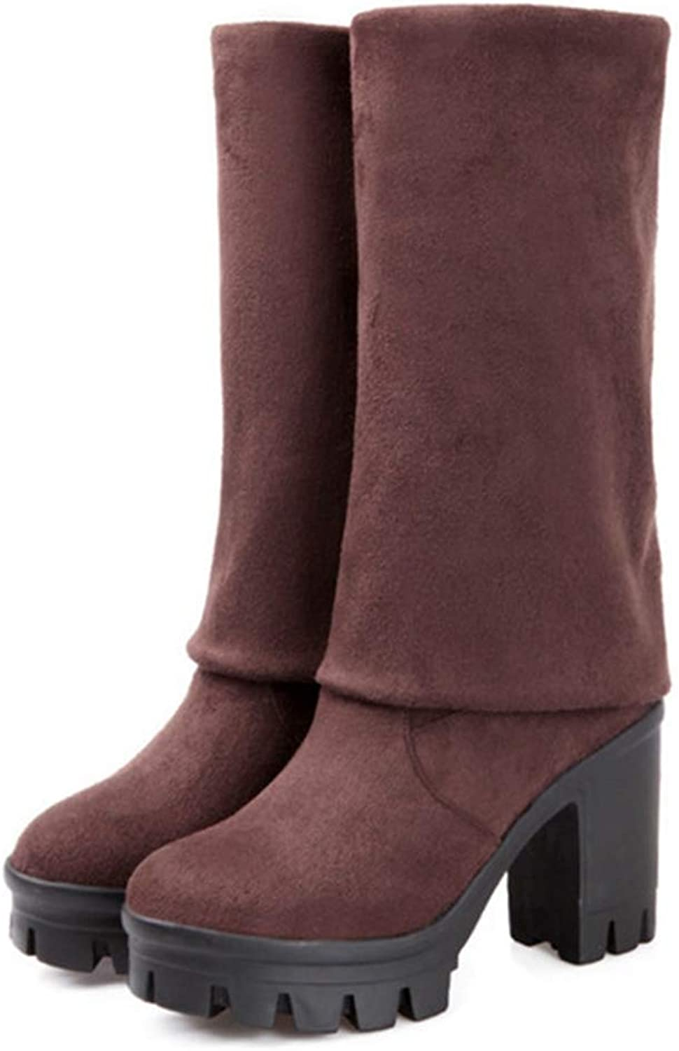 Hoxekle Square High Heel Women Stretch Fabric Over The Knee Boots shoes Winter Lace Up Suede Thigh High Boots
