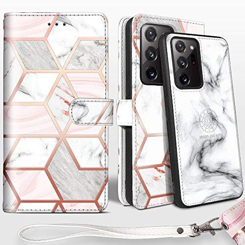 Shields Up Handyhülle für Galaxy Note 20 Ultra Hülle,[abnehmbare] magnetische Schutzhülle,[Kartenfach],[Standfunktion] Schlaufe, [veganes Leder] für Samsung Galaxy Note 20 Ultra Tasche - Marmor