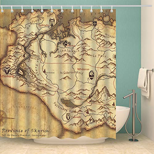 COLORPAPA Game Decorative Shower Curtain an Old Yellow Map from Province of Skyrim Nostalgic Waterproof Polyester Fabric Bath Curtain with 12pcs Hooks
