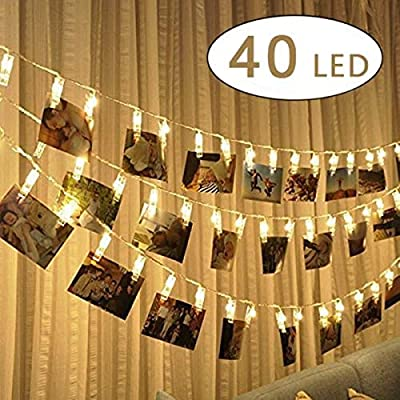 Cookey LED Photo Clip String Lights - 40 Photo Clips 5M Battery Powered LED Picture Lights for Decoration Hanging Photo , Notes, Artwork