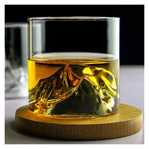 QJTZ Niche japonés Estilo Taza de montaña Poco Profunda Vino Taza de Vino guanshan Fuji Ilustraciones de Madera Caja de Regalo de Madera Vidrio 0412 (Capacity : 200ml, Color : Transparent)