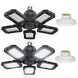 Iluminación de garaje LED, 80 W, 18000LM 6500 K, E27/26, plafón LED para garaje de 5 paneles...