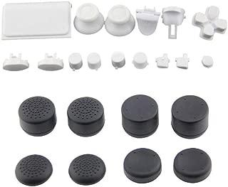 EVORETRO PS4コントローラーフル・ボタンアクセサリーバンドル - プレイステーション4のためのボタンコンプリートセットとシリコーンサムスティックグリップ交換キットにより、 白