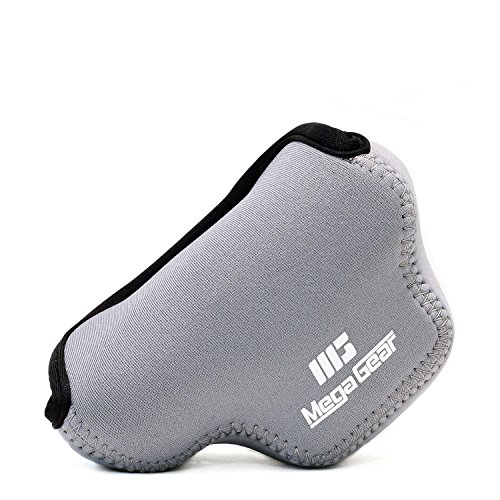 MegaGear ''Ultra Light'' Neoprene Camera Case Bag with Carabiner for Nikon 1 J4, Nikon 1 J5 with 10-30mm (Grey)