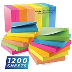 SUPER STICKY NOTES: No more finding your self-stick notes beneath your desk minutes after pasting on the front. QUALITY PAPER: 80gsm sturdy stickies don't tear apart, curl up or spill ink. 6 BRIGHT COLORS: Including yellow, green, blue, orange, pink,...
