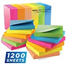 Sticky Notes 3x3, Bright Colorful Stickies, 12 Pads 1200 Sheets Total, Strong Self-Stick Notes, 6 Colors (Yellow, Green, Blue, Orange, Pink, Rose)