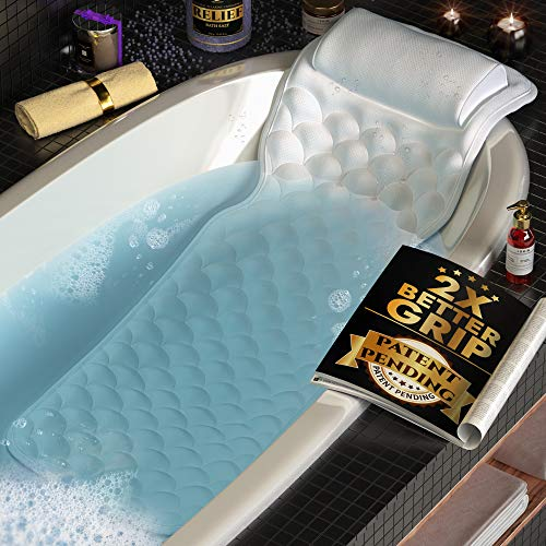 Premium Full Body Bath Pillow For Tub [22 Anti-Slip Suction Cups], Extra Soft Neck & Back Support to Relax & Unwind, QuickDry Fabric, Cooling Effect, Durable & Cushioned | Free Machine Washable Bag