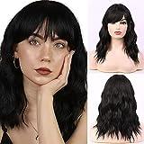 HAIRCUBE 14 pulgadas encantadoras pelucas de pelo ondulado natural con flequillo pelucas de pelo corto y rizado para mujer para mujer