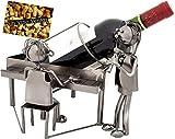 BRUBAKER Weinflaschenhalter Duo mit Sänger am Klavier - Flaschenständer aus Metall mit Grußkarte für Weingeschenk