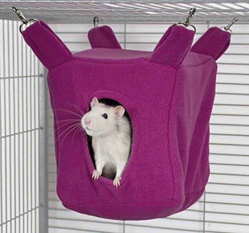 Rodents Residence Würfel Kuschelhängematte Kleintier Höhle Haus Häuschen Ratte Chinchilla Frettchen Degu (Pink)