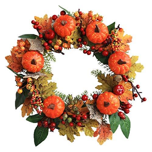 Guirnalda de calabaza de Halloween, Guirnalda de puerta de cosecha de otoño Guirnalda de puerta de otoño de seda hueca para Navidad Decoración de Acción de Gracias de Halloween, 11.8 '' (Paquete de 2)