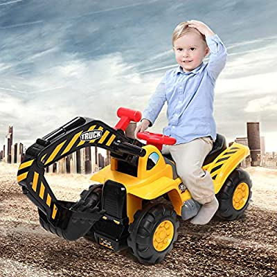 Nemore Kids Ride On Construction Excavator with Safety Helmet, Rocks Ride on Toys for Kids with Sound Surround