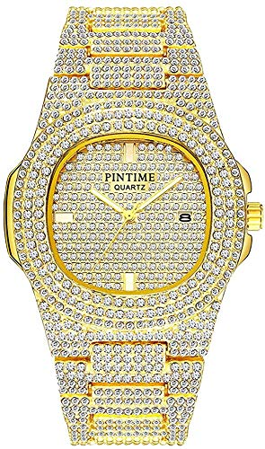 Unisex Luxury Full Diamond Watches Silver/Gold Fashion Quartz Analog Stainless Steel Band Bracelet Wrist Watch (Gold)