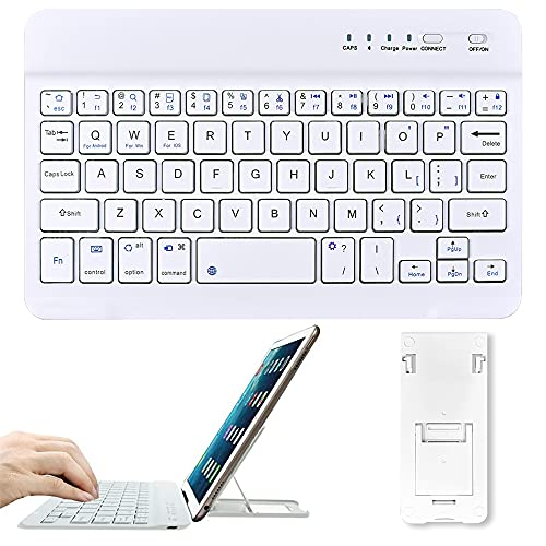 Tastiera Bluetooth Senza Fili, Bamlarate Universale Ultra Sottile Tastiera Ricaricabile da 7 Pollici, Portatile con Stand per Tutti iOS, Mac, iPad, Windows, Tablet, Android 3.0 sopra OS (Bianca)