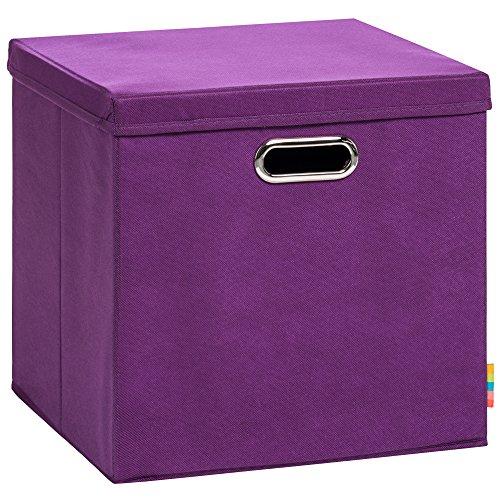 (Storanda) Aufbewahrungsbox LEA mit Deckel - Faltbox - Korb - 33x33x33 cm - (Brombeere)