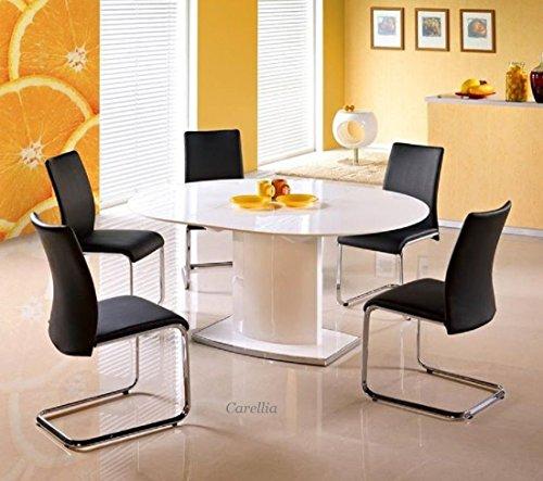Mesa a comedor ovalada extensible–L: 120÷ 160cm x P: 120cm x H: 76cm–blanco