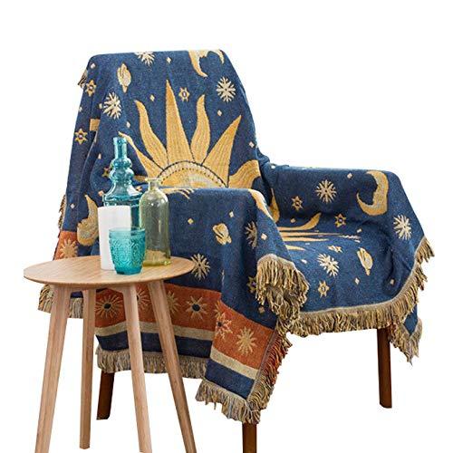 Dulcii Decorative 100% Cotton Woven Throw Blanket Sofa Towel Cotton Warm Slipcover 130 x 180cm (Sun Moon Stars)
