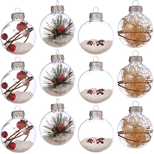 Sea Team 70mm/2.76' Shatterproof Clear Plastic Christmas Ball Ornaments Craft Xmas Balls Baubles Set Filled with Artificial Snow Berry Rattan for Winter Theme Tree Decorations, Set of 24