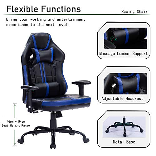 Blue Whale Massage Gaming Chair with Metal Base Racing Style Video Game PC Computer Gamer Gaming Chairs Ergonomic Office High Back Chair with Headrest