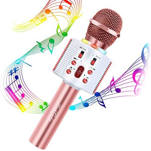 Microfono Karaoke Bluetooth Wireless, FISHOAKY 4 in 1 Portatile Microfono Karaoke Bambini con Altoparlante, KTV Karaoke Player per Cantare, Funzione Eco, Compatibile con Android