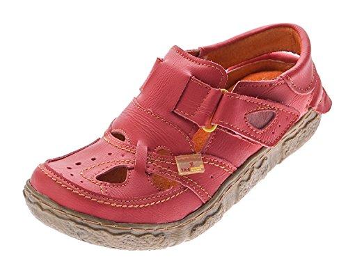 TMA Leder Damen Sandalen Echtleder Rot Comfort Sandaletten 7088 Halb Schuhe Gr. 36