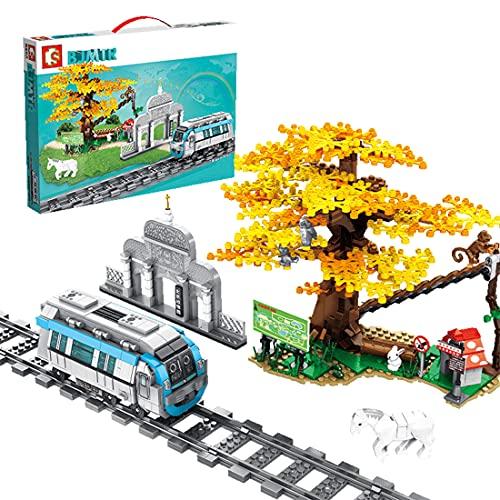xSuper Juego de tren 907 ps Beijing-Hong Kong Metro Line 4 Beijing Zoo Station con árboles, pistas, hierba, conejos,letreros,pistas y accesorios compatible con bloques de construcción Lego