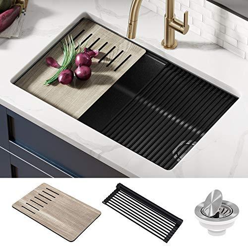 Kraus KGUW2-30MBL Bellucci Workstation 30 inch Undermount Granite Composite Single Bowl Kitchen Sink, Metallic Black