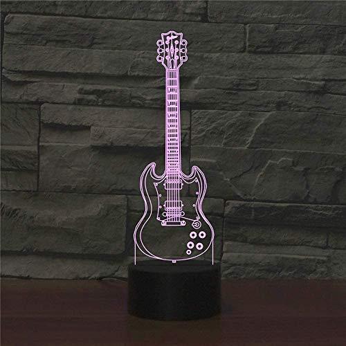 Illusion 3D nachtlampje 5-snarige gitaar LED tafel bureaulamp 7 kleuren veranderen USB Power Touch Switch Decor lamp voor kinderen Kerstmis verjaardagsgeschenk