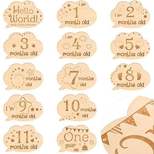 13 Piezas Tarjetas de Hitos Mensuales de Bebés Letrero de Hitos de Bebé de Madera Conjuntos de Regalo de Bebés Tarjetas de Primer Año de Crecimiento Accesorios Tarjetas Fotos