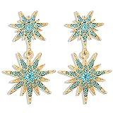 VAMEI Orecchini pendenti Stella Orecchini pendenti cristallo Gioielli da donna Stella esagrante Orecchini pendenti Starburst Orecchini da sposa con borchie (blu)