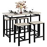 DSDNOO 5 Pcs Dining Table Set, Counter Height Dining Table Set for 4, Wooden Bar Height Dining Table & Bar Stools, Bar Table and Chairs Set, Kitchen Dining Table Set for Pub/Dining Room (Beige)