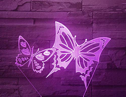 3D Children's Night Light, Butterfly Shape, 16-Color Changing dimmable Toy lamp, USB Charging Table lamp, Cracked Base
