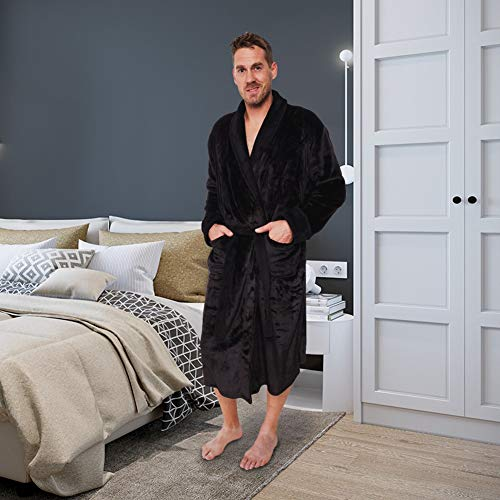 Ross Michaels Mens Plush Shawl Collar Kimono Bathrobe Robe (Black, L/XL)