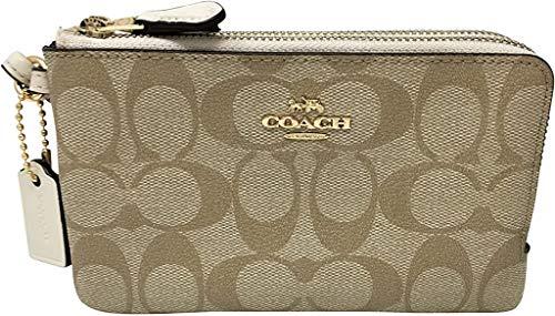 Coach Signature PVC Double Corner Zip Wristlet Wallet (IM/Light Khaki/Chalk)