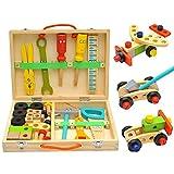 thelastplanet Spielwerkzeug Holz Werkzeugkoffer Werkzeugkasten Holz Konstruktions Set Holzbausteine Spielzeug Zubehöre Handwerker Set Für Kinder