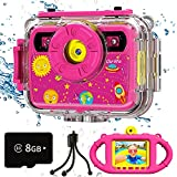 Ourlife Kids Underwater Camera, Selfie Waterproof Action Cameras Toys for Girls Age 6-15, 1080P 2.4'' Large Screen Cam with 8GB TF Card, Silicone Handle, Fill Light, Christmas Birthday Gift for Girls