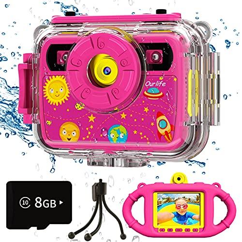 Ourlife Cámara para niños, cámara de acción impermeable para selfie, 1080P 8 MP pantalla grande de 2,4 pulgadas con tarjeta TF de 8...